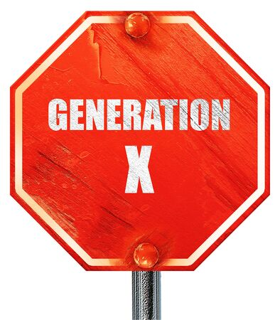 generation x: generation x word, 3D rendering, a red stop sign