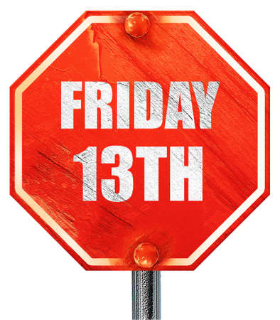 13th: friday 13th, 3D rendering, a red stop sign Stock Photo