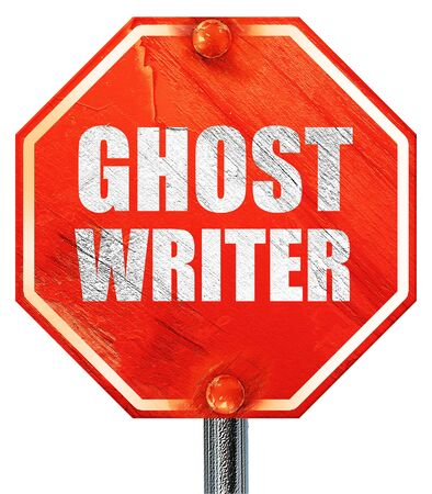 screenplay: ghost writer, 3D rendering, a red stop sign
