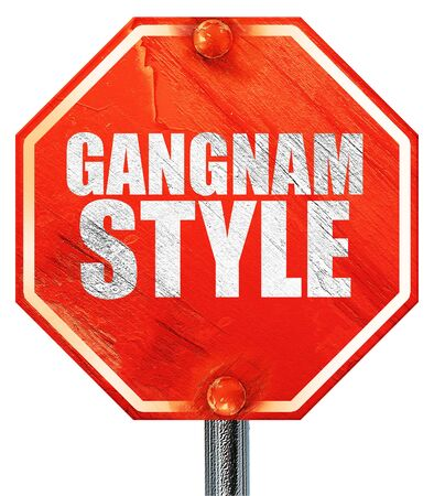 travesty: gangnam style, 3D rendering, a red stop sign