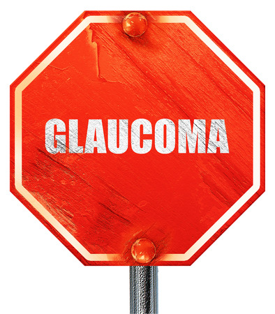 optic nerves: glaucoma, 3D rendering, a red stop sign