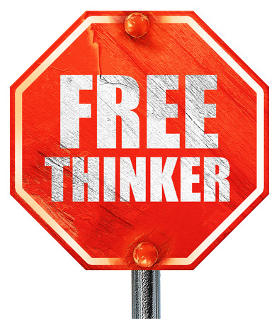 the thinker: free thinker, 3D rendering, a red stop sign