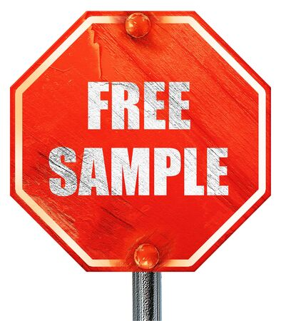 free sample: free sample sign with some soft smooth lines, 3D rendering, a red stop sign Stock Photo