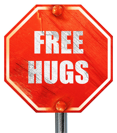 hugs: free hugs, 3D rendering, a red stop sign Stock Photo