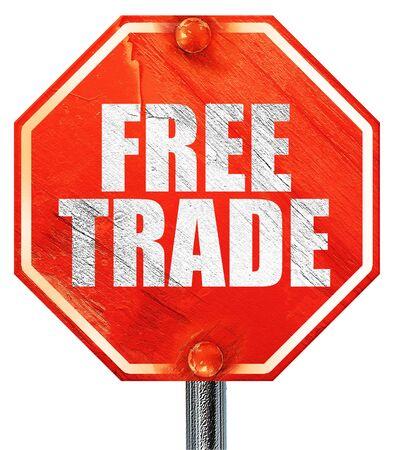 libre comercio, 3D, una señal de stop roja
