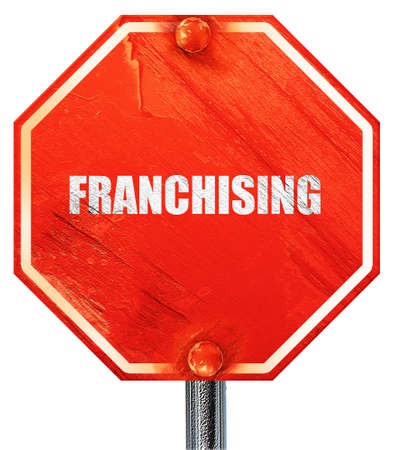 franchising: franchising, 3D rendering, a red stop sign Stock Photo