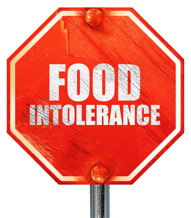 intolerance: food intolerance, 3D rendering, a red stop sign Stock Photo