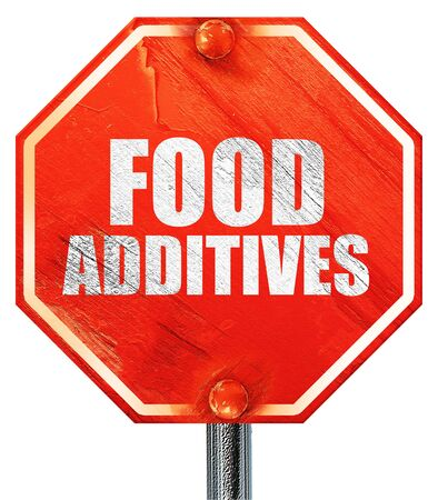 stabilizers: food additives, 3D rendering, a red stop sign
