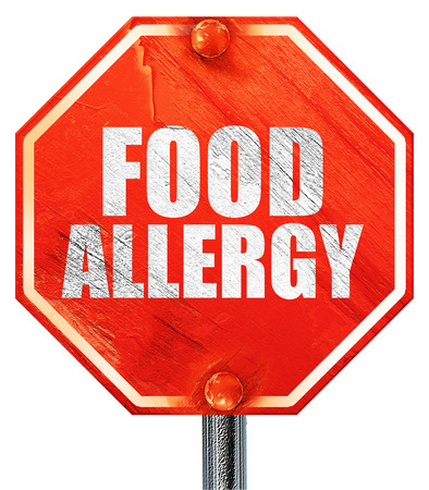 food allergy, 3D rendering, a red stop sign Stock Photo