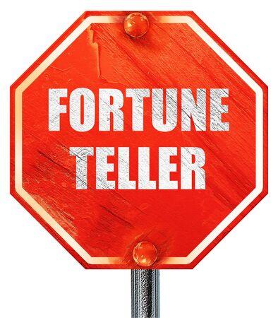 fortuneteller: fortune teller, 3D rendering, a red stop sign