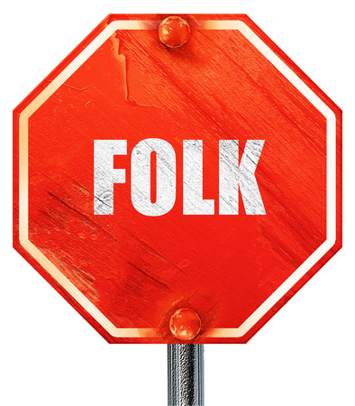 folk music: folk music, 3D rendering, a red stop sign