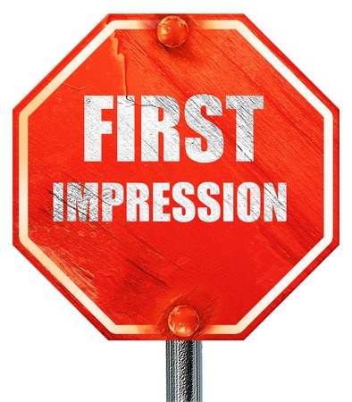 pioneering: first impression, 3D rendering, a red stop sign Stock Photo