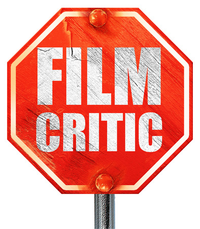 critic: film critic, 3D rendering, a red stop sign
