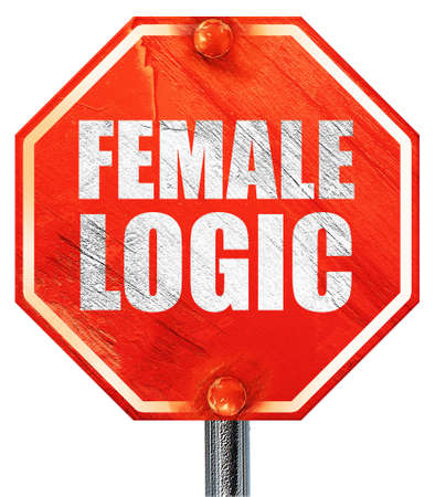 lógica: la lógica femenina, 3D, una señal de stop roja