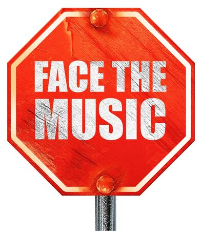 music 3d: face the music, 3D rendering, a red stop sign