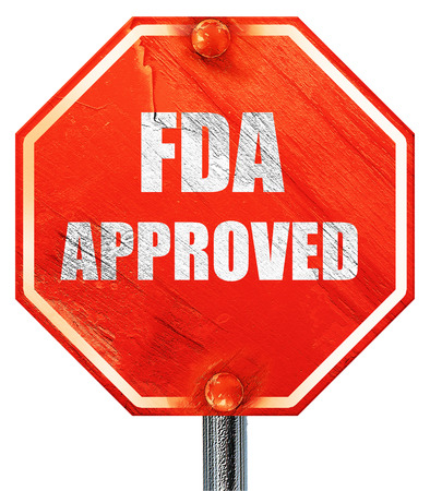 endorse: FDA approved background with some smooth lines, 3D rendering, a red stop sign