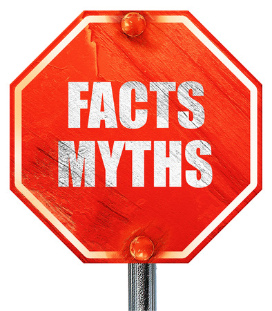 myths: facts myths, 3D rendering, a red stop sign Stock Photo