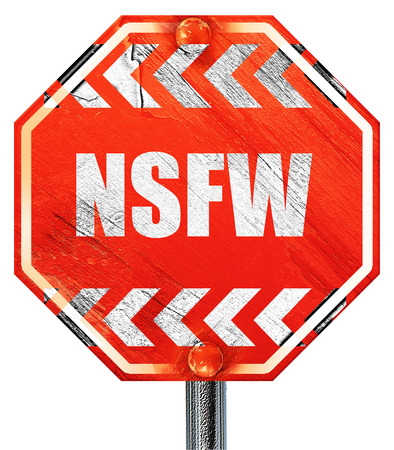 Not safe for work sign with some vivid colors, 3D rendering, a red stop sign Фото со стока