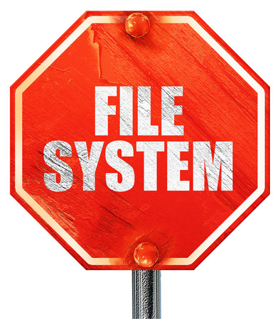 custom cabinet: file system, 3D rendering, a red stop sign Stock Photo