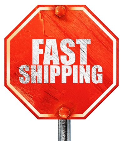 fast shipping: fast shipping, 3D rendering, a red stop sign
