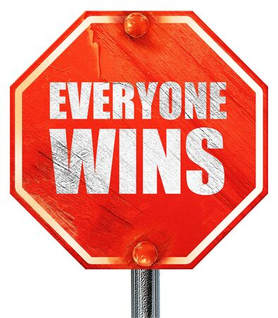 everyone: everyone wins, 3D rendering, a red stop sign Stock Photo