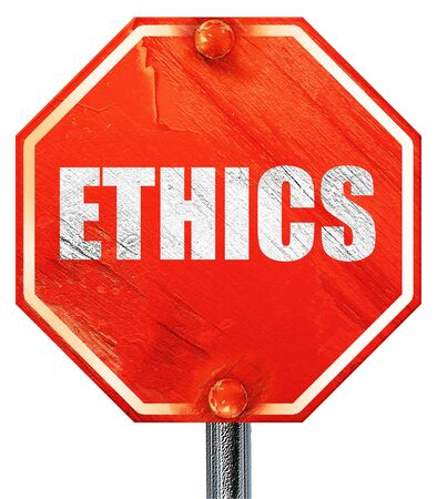 ethos: ethics, 3D rendering, a red stop sign Stock Photo