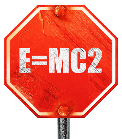 e=mc2, 3D rendering, a red stop sign