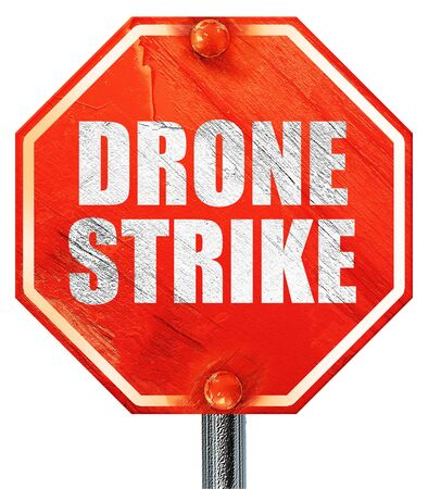 drone strike, 3D rendering, a red stop sign