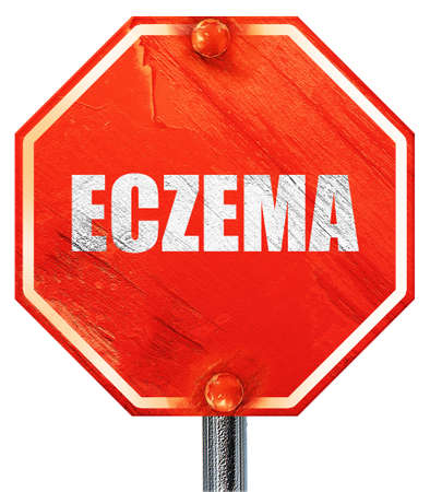 atopic: eczema, 3D rendering, a red stop sign