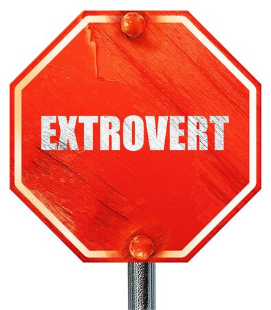 extrovert: extrovert, 3D rendering, a red stop sign Stock Photo