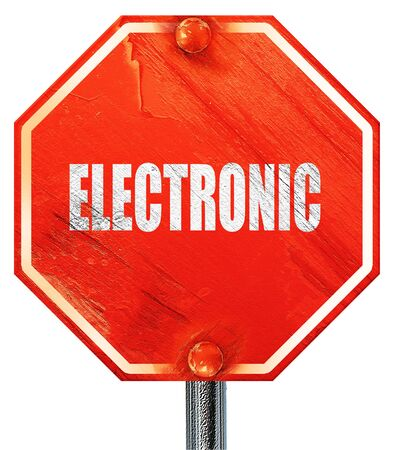 music 3d: electronic music, 3D rendering, a red stop sign Stock Photo