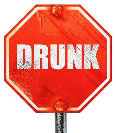 tipsy: drunk, 3D rendering, a red stop sign Stock Photo
