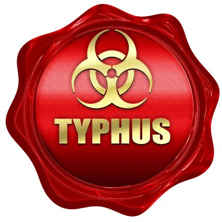 typhus: Typhus concept background with some soft smooth lines, 3D rendering, a red wax seal Stock Photo