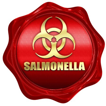 salmonella: Salmonella concept background with some soft smooth lines, 3D rendering, a red wax seal Stock Photo