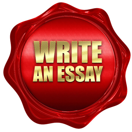 essay: write an essay, 3D rendering, a red wax seal
