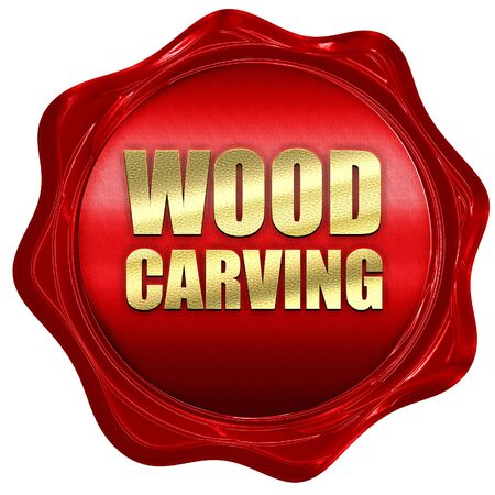 wood carving 3d: wood carving, 3D rendering, a red wax seal