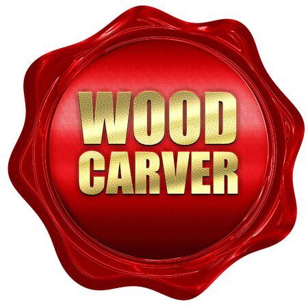 carver: tallador de madera, 3D, un sello de cera roja Foto de archivo
