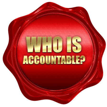 culpable: who is accountable, 3D rendering, a red wax seal Stock Photo
