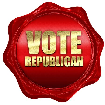 republican: vote republican, 3D rendering, a red wax seal