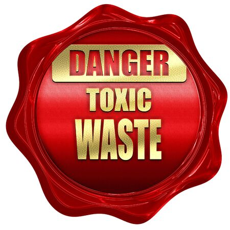 residuos toxicos: signo de residuos t�xicos con unas l�neas suaves, 3D, un sello de cera roja