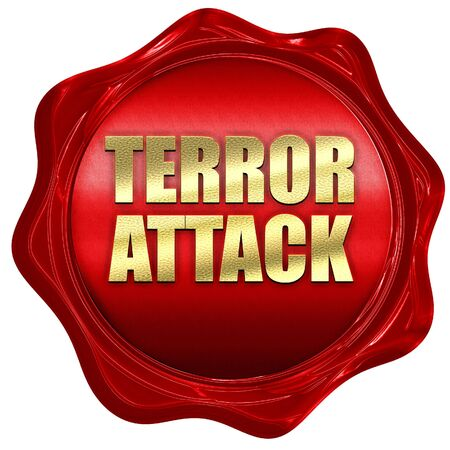 terror: terror attack, 3D rendering, a red wax seal Stock Photo