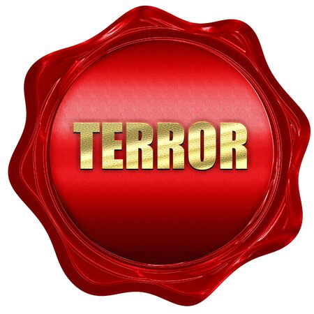 caliphate: terror, 3D rendering, a red wax seal
