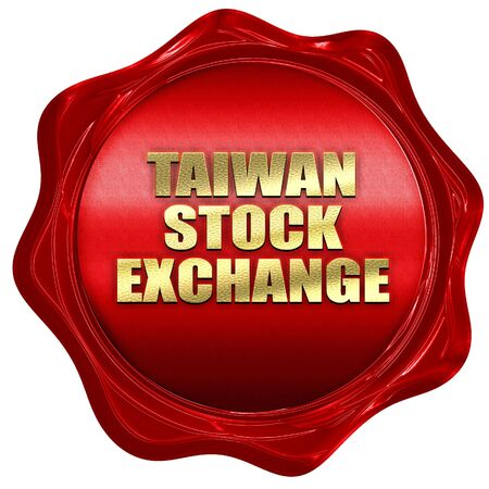 hing: taiwan stock exchange, 3D rendering, a red wax seal