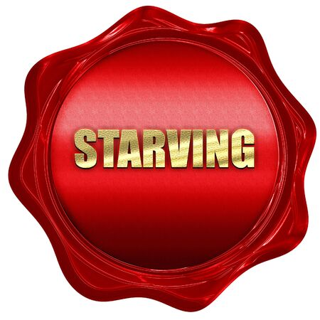 starving: starving, 3D rendering, a red wax seal Stock Photo