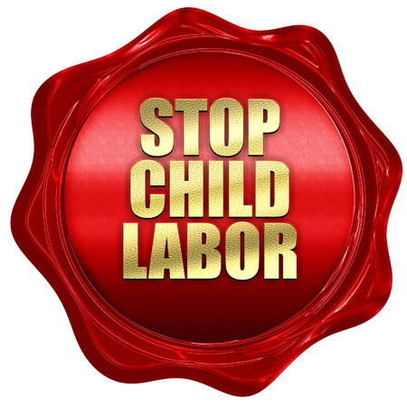 illegality: stop child labor, 3D rendering, a red wax seal Stock Photo