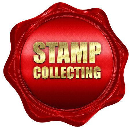 stamp collecting: stamp collecting, 3D rendering, a red wax seal