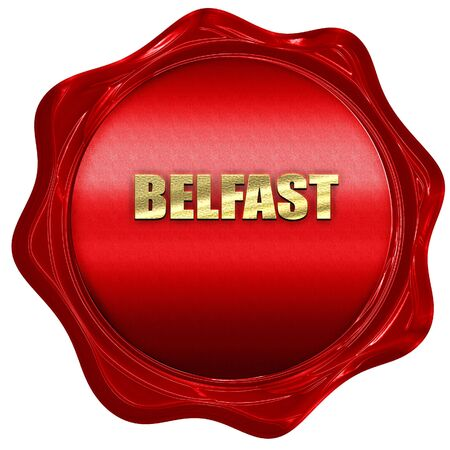 red wax: belfast, 3D rendering, a red wax seal