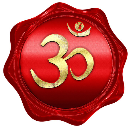 3d om: Om sign icon with some soft flowing smooth lines, 3D rendering, a red wax seal