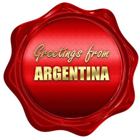 argentine: Greetings from argentine card with some soft highlights, 3D rendering, a red wax seal Stock Photo