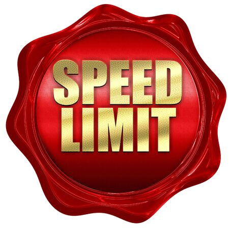 speed limit: speed limit, 3D rendering, a red wax seal
